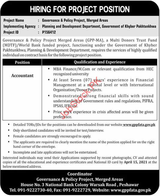 Accounting And Finance Jobs In Peshawar 2020