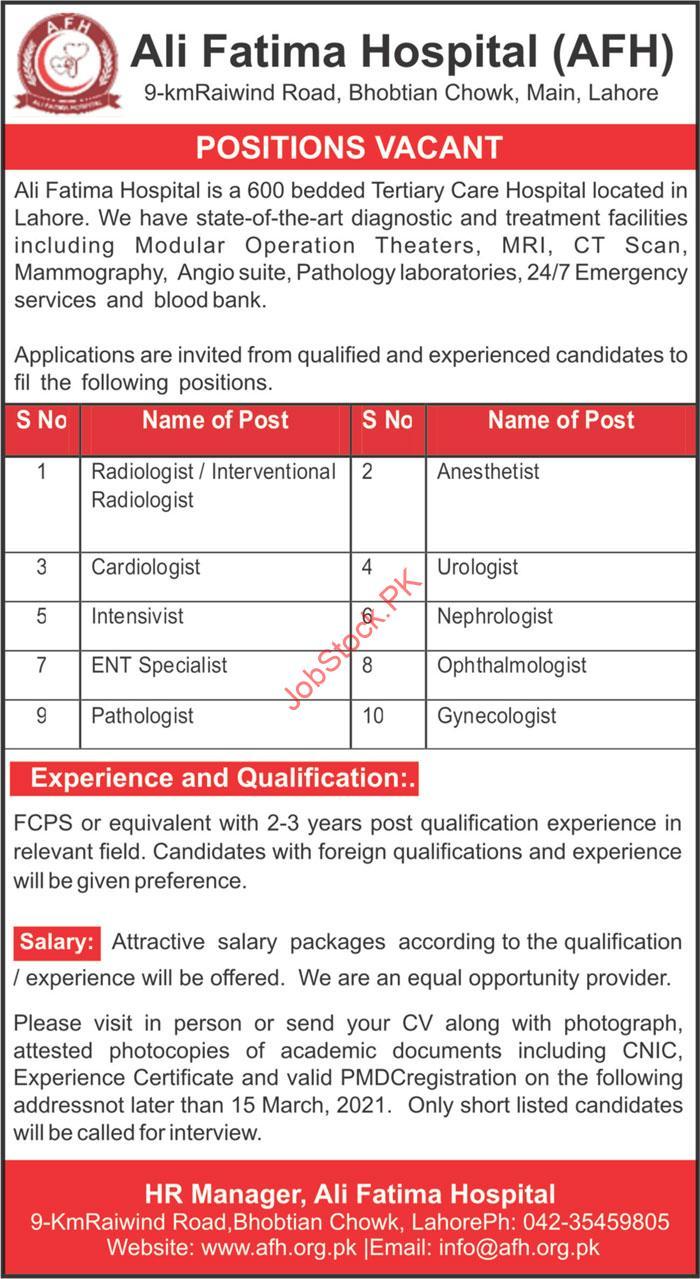 Ali Fatima Hospital Afh Lahore Jobs 2021