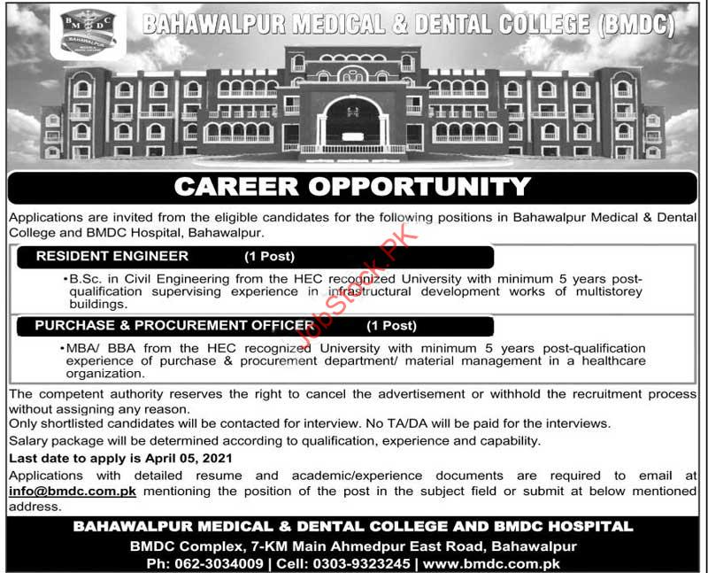 Bahawalpur Medical And Dental College Jobs Engineer, Officer
