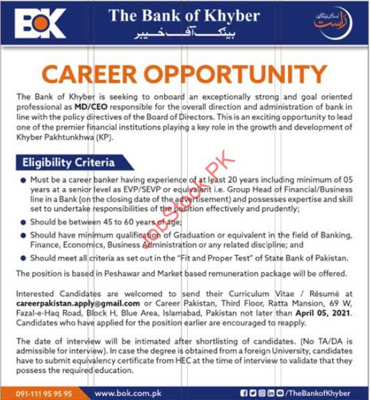 Bank Of Khyber Jobs 2020 Managing Director, Md, Chief Executive Officer, Ceo