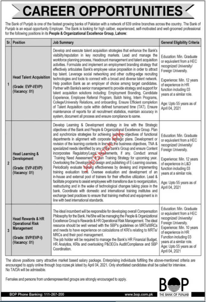 Bank Of Punjab Jobs In Lahore 2021