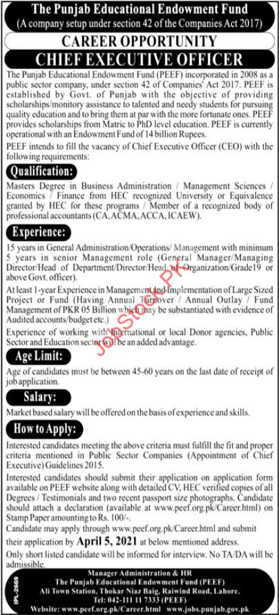 Ceo Jobs In Lahore Peef Education Department