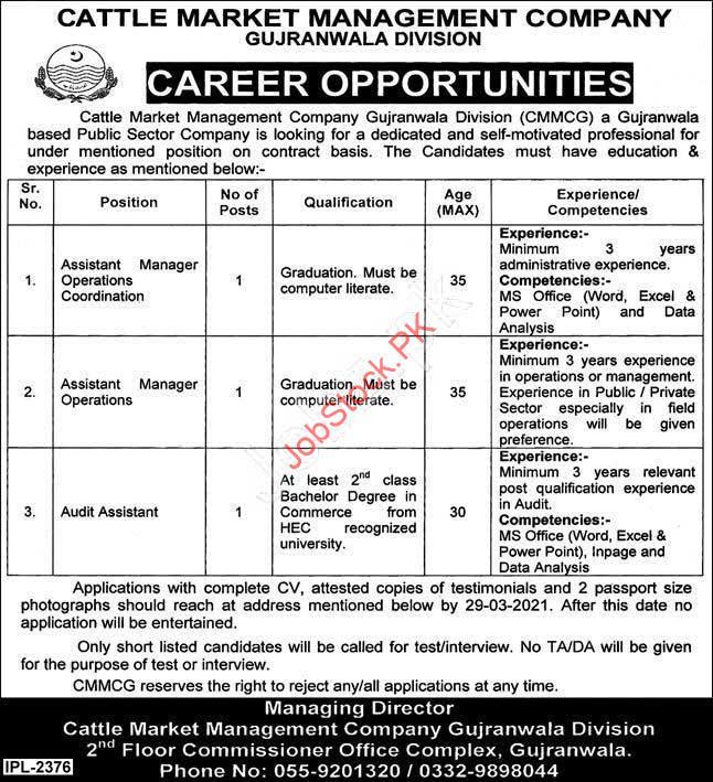 Cattle Market Management Company Gujranwala Jobs 2021