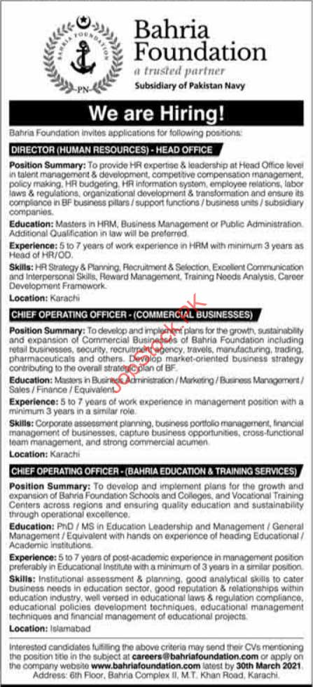 Chief Operating Officer Jobs In Karachi & Director Human Resources Jobs