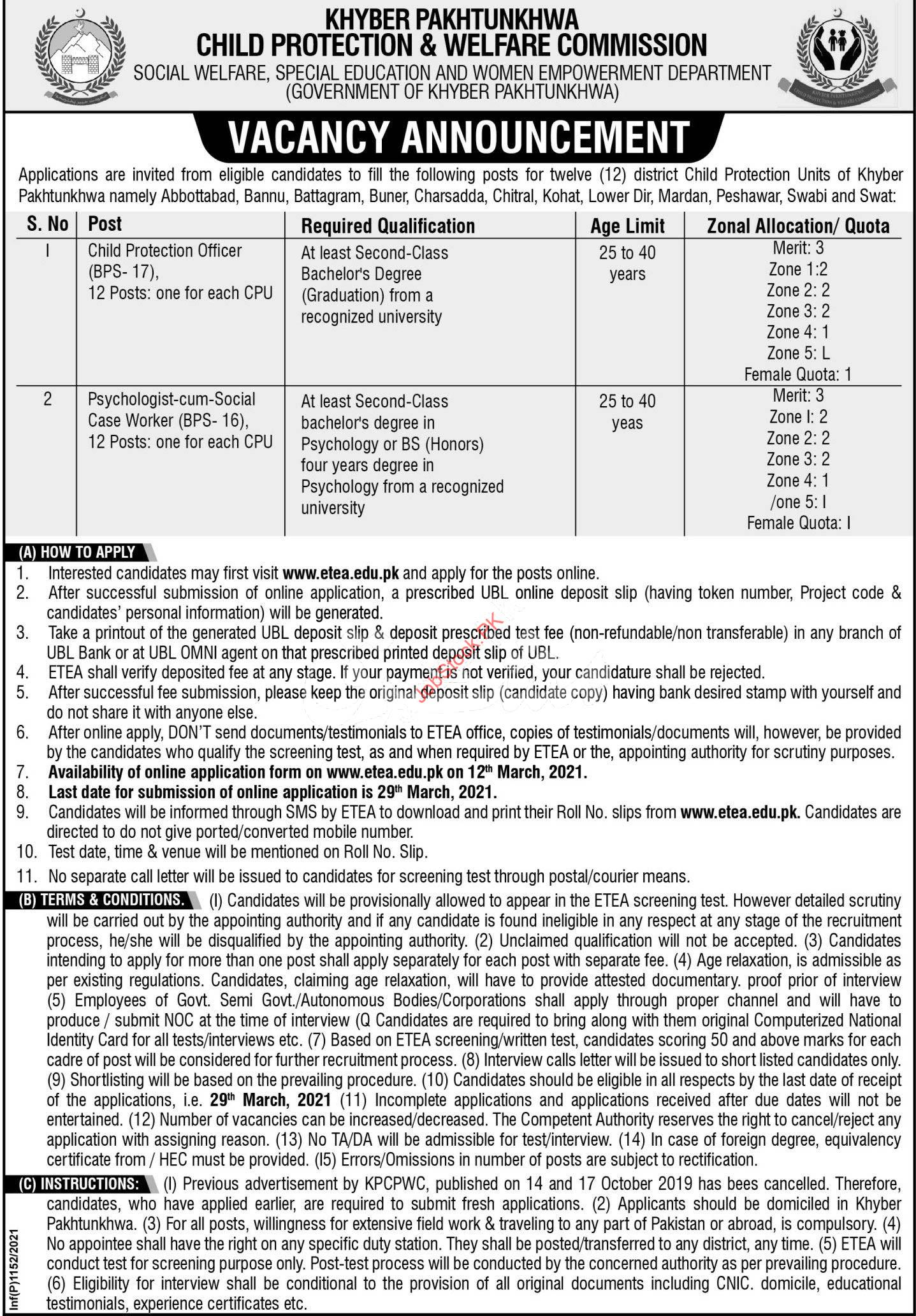 Child Protection & Welfare Commission Kpk Jobs 2021 March Latest