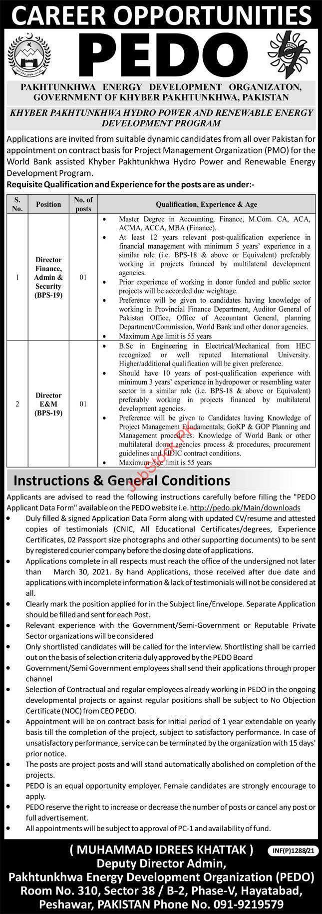 Director Jobs In Peshawar Finance, Admin, Security, E&m
