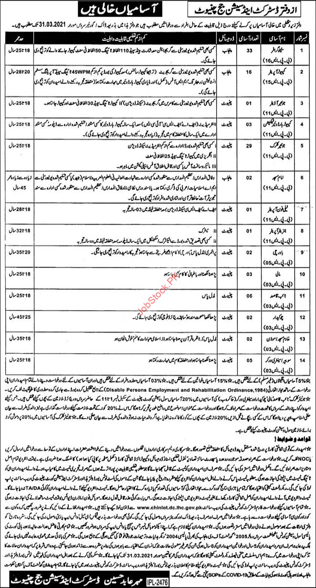 District & Session Court Chiniot Jobs 2021