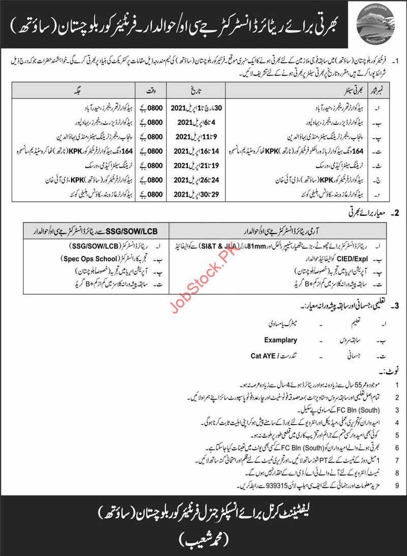 Fc Balochistan South New Jobs 2021 Today Newspaper Pakistan Online