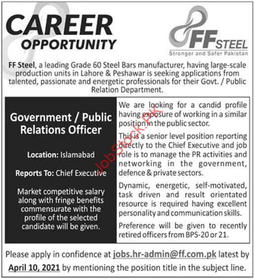 Ff Steel Manufacturing Industry Job 2021
