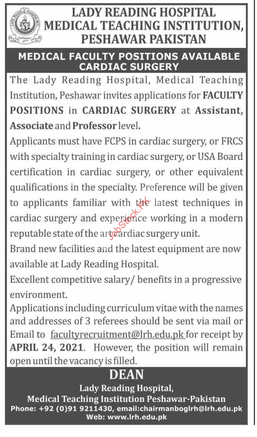 Faculty Positions Jobs 2021 Lady Reading Hospital Lrh Latest