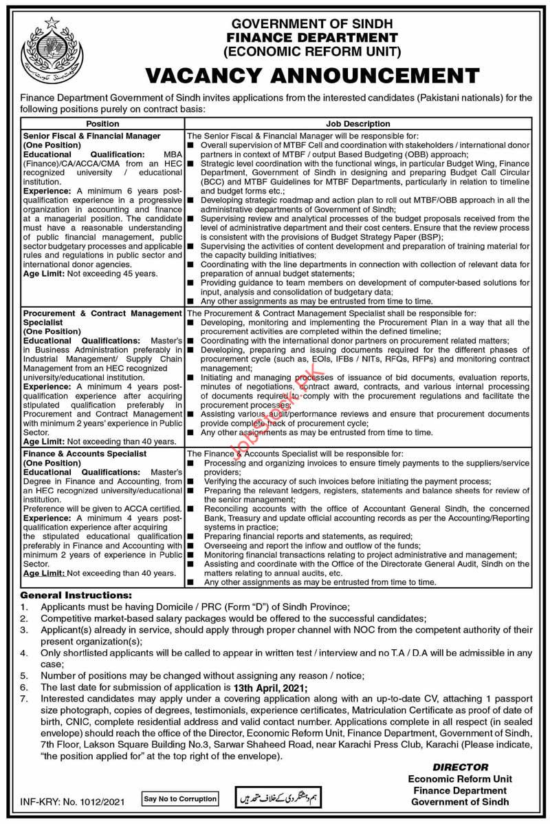 Finance Department Government Of Sindh Jobs 2021
