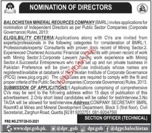 Government Jobs In Balochistan 2021 Director Jobs