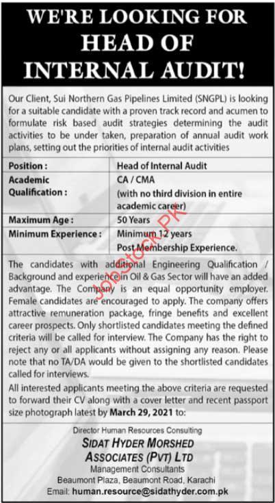 Head Of Internal Audit Jobs In Karachi 2021