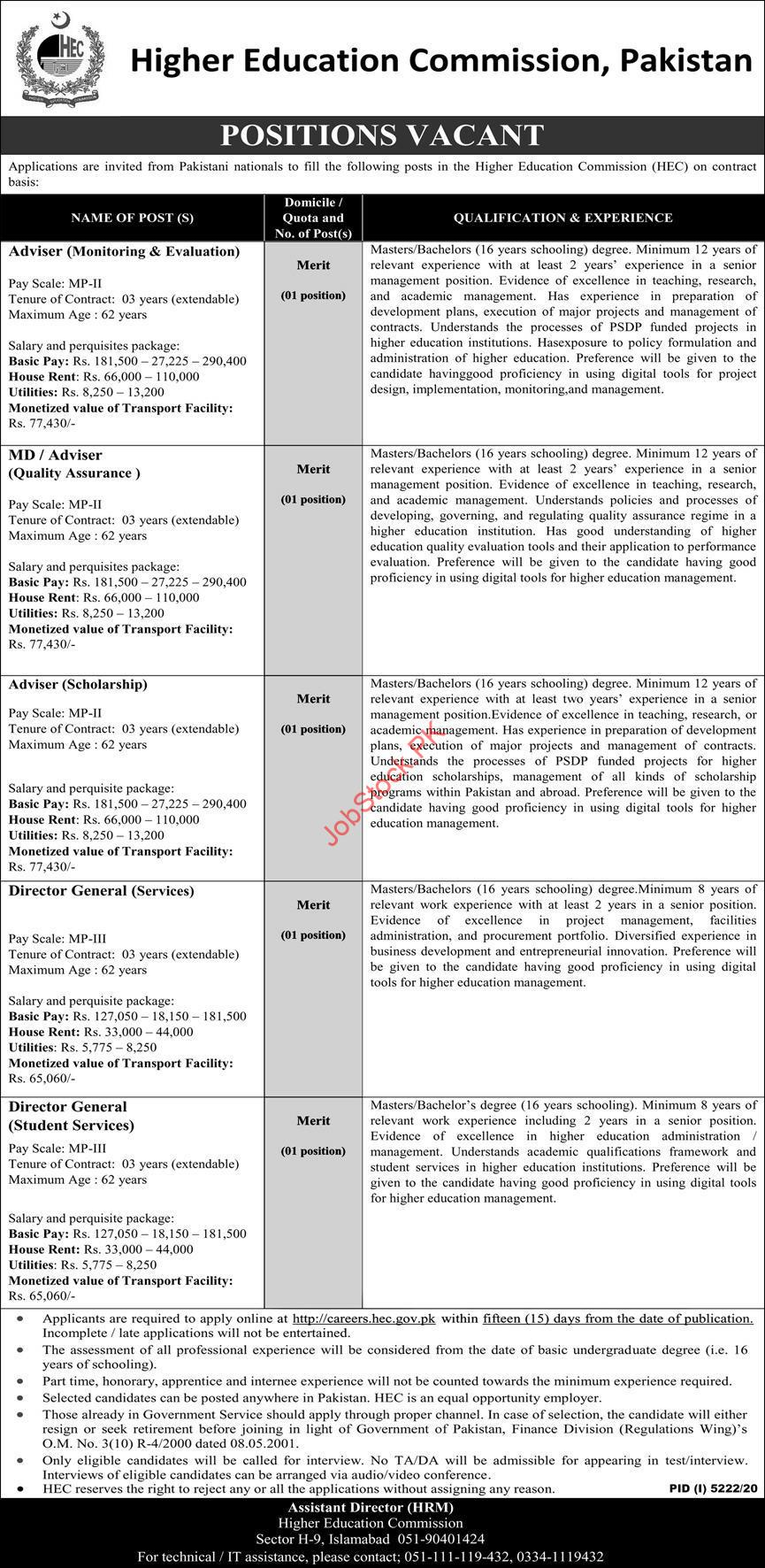 Higher Education Commission Hec Islamabad Jobs 2021