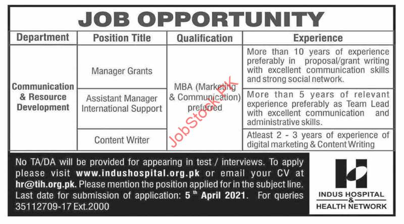 Indus Hospital Jobs In Karachi Manager, Content Writer