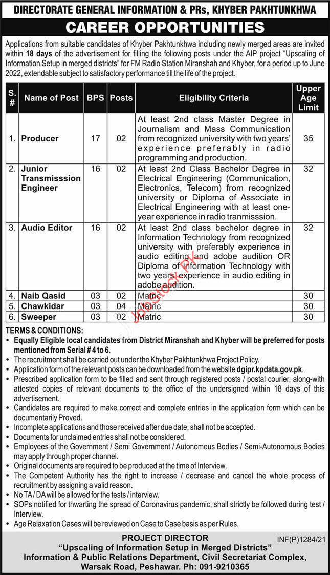 Information And Public Relations Department Jobs 2021