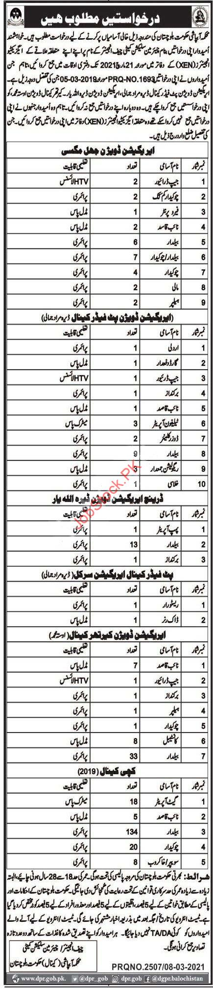 Irrigation Department Balochistan Jobs 2021 March Latest
