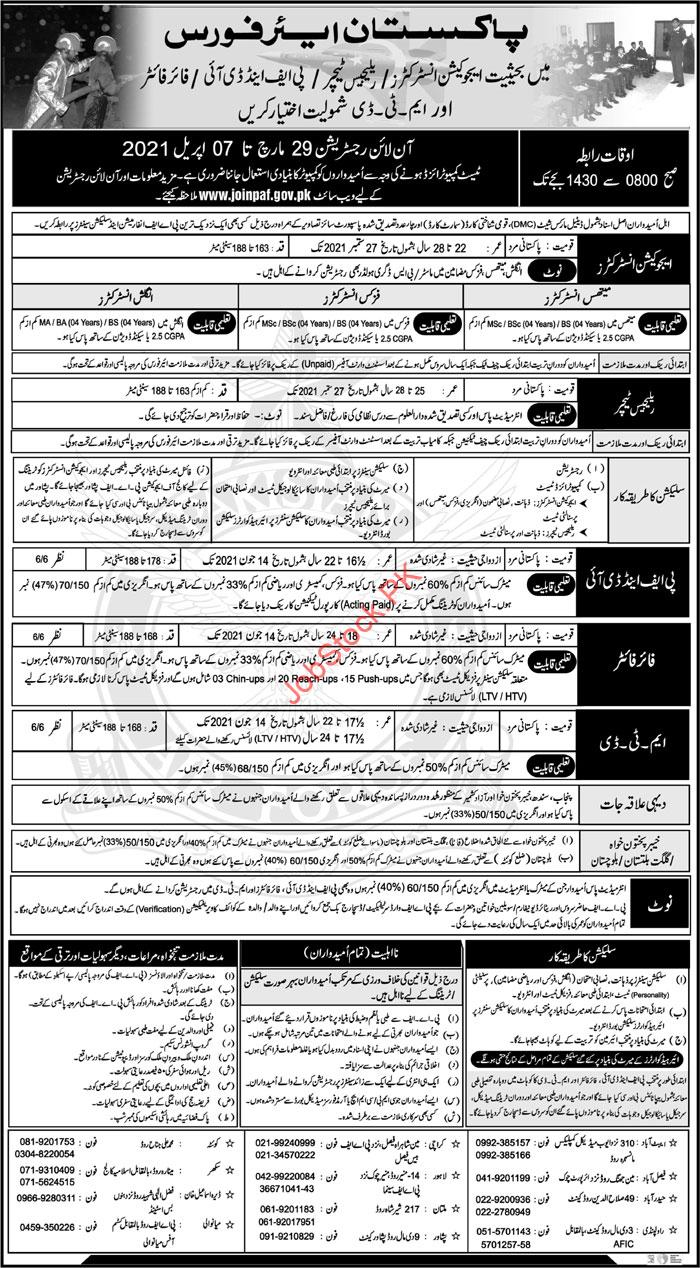 Join Pakistan Air Force As A Education Instructor