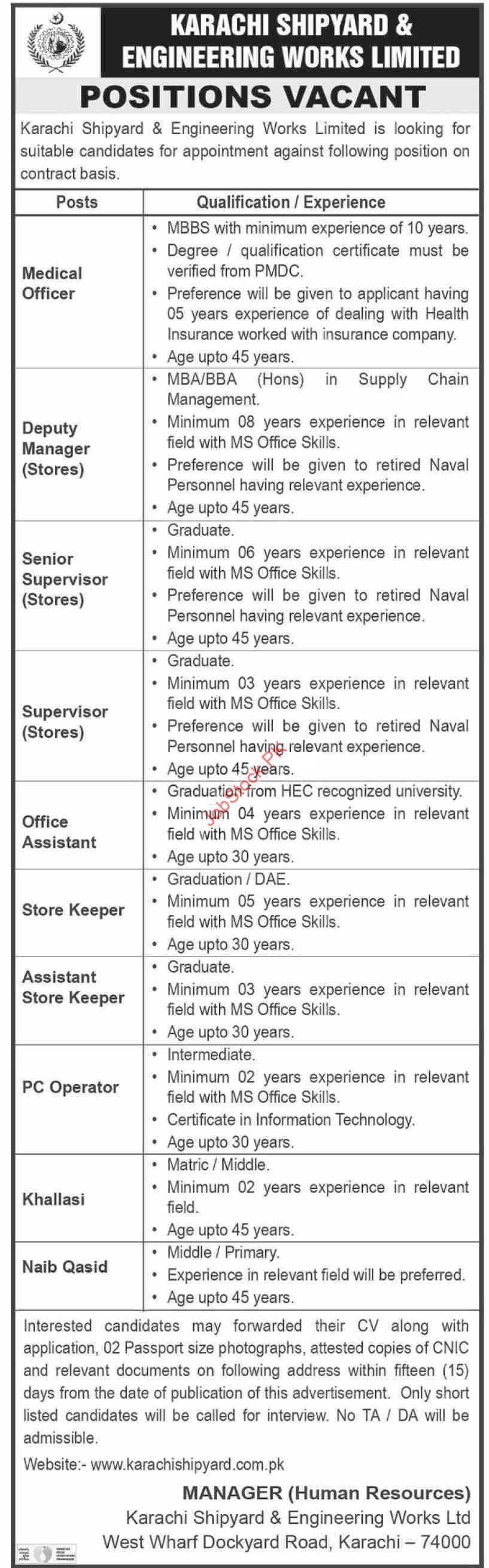 Karachi Shipyard And Engineering Works Ltd Jobs 2021