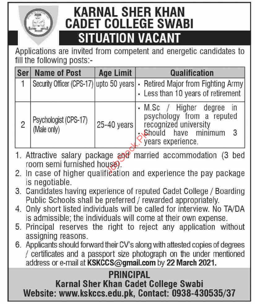 Kernal Sher Khan Cadet College Swabi Jobs 2021 March Latest