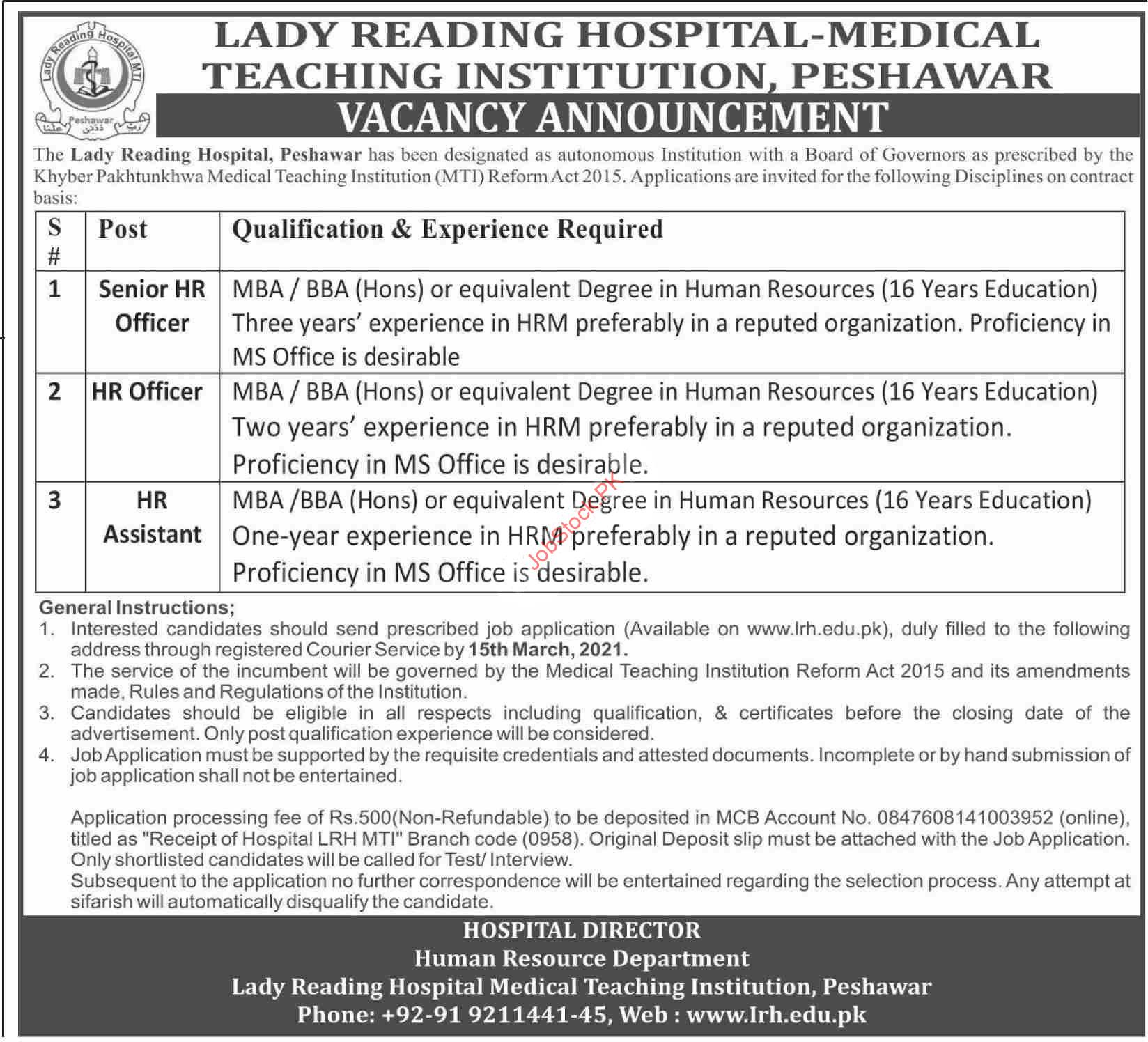 Lady Reading Hospital Lrh Mti Peshawar Jobs 2021