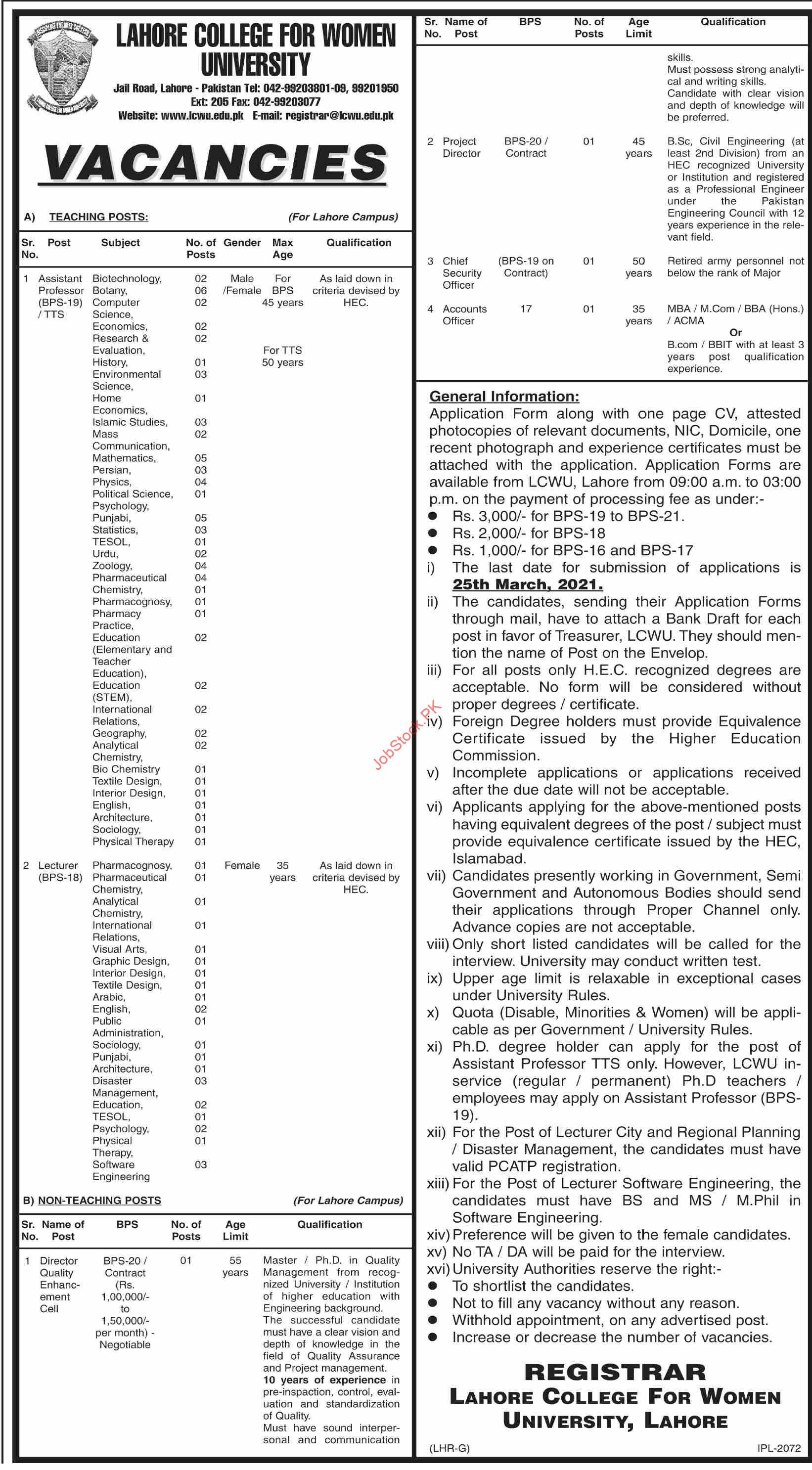Lahore College For Women University Jobs 2021 March Latest