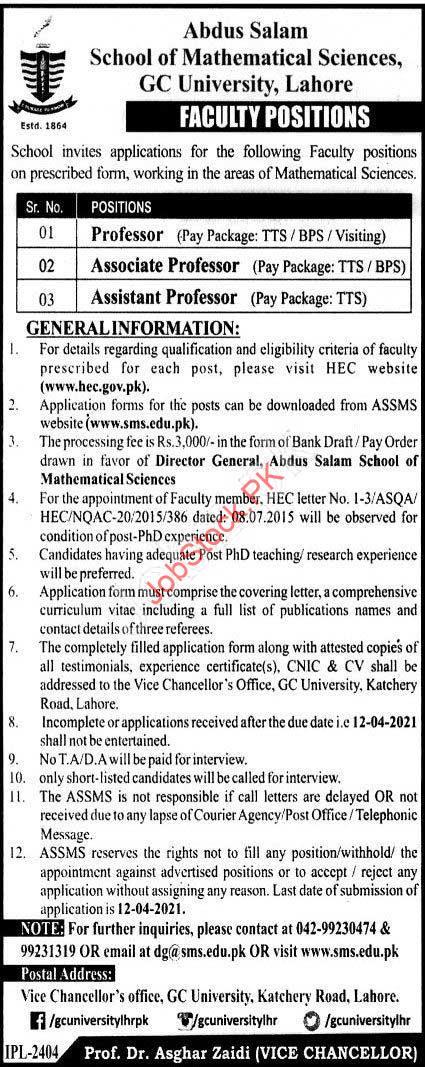 Lecturer Jobs In Gc University Lahore Professor Jobs