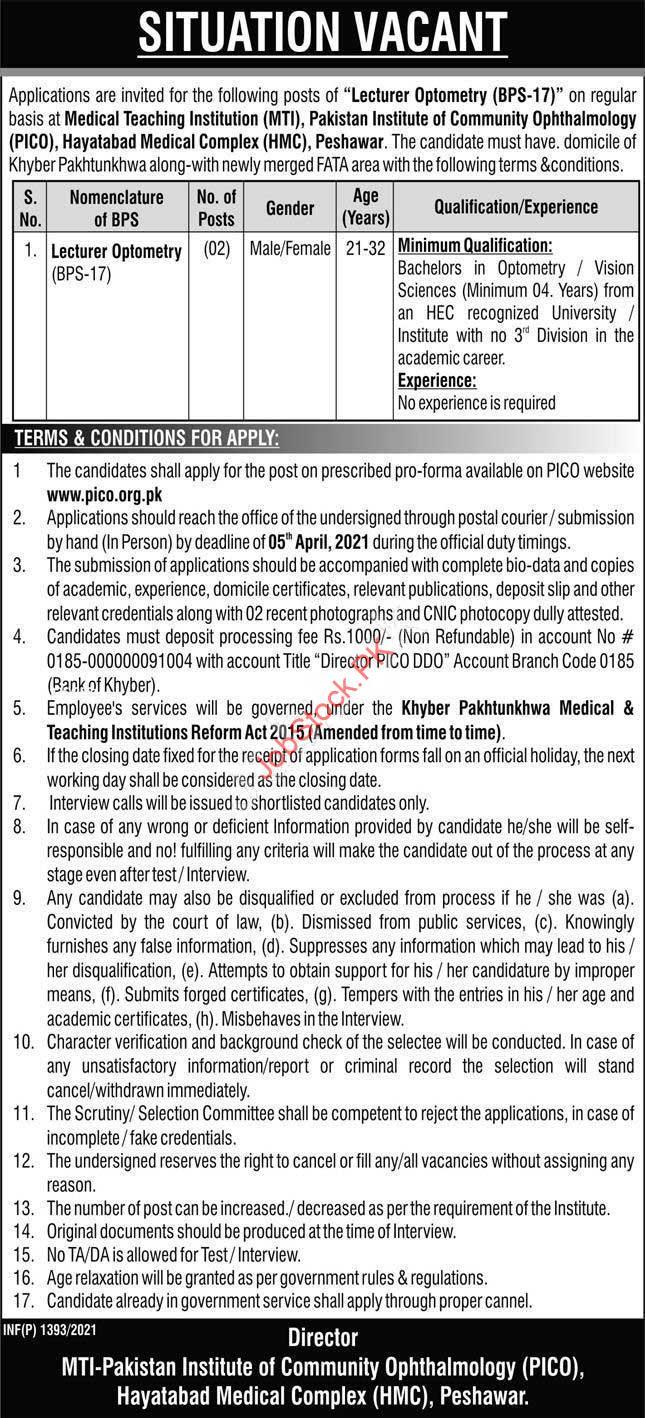 Lecturer Jobs In Peshawar University Lecturer Optometry