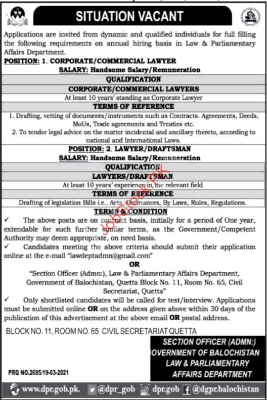 Legal Jobs Quetta Corporate Lawyer, Commercial Lawyer, Draftsman