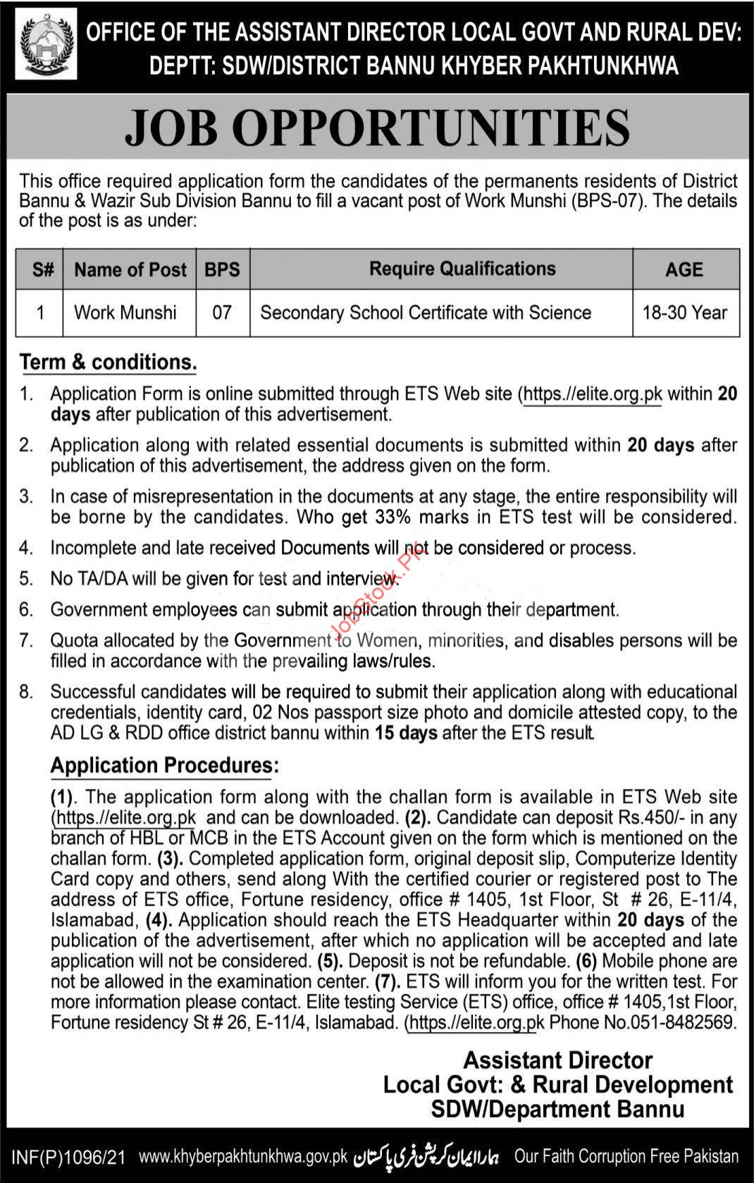 Local Government And Rural Development Department Bannu Jobs 2021 March Latest
