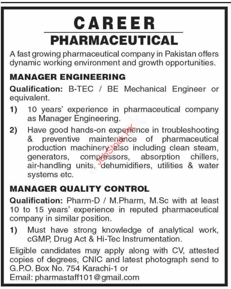 Manager Kobs In Karachi Manager Engineering Manager Quality Control