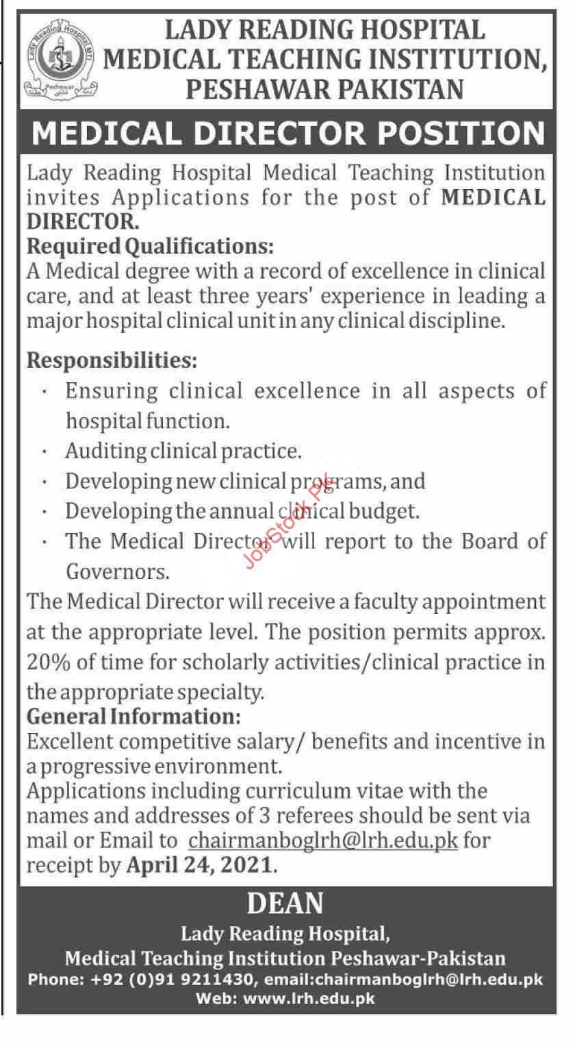 Medical Director Jobs 2021 Lady Reading Hospital Lrh Latest