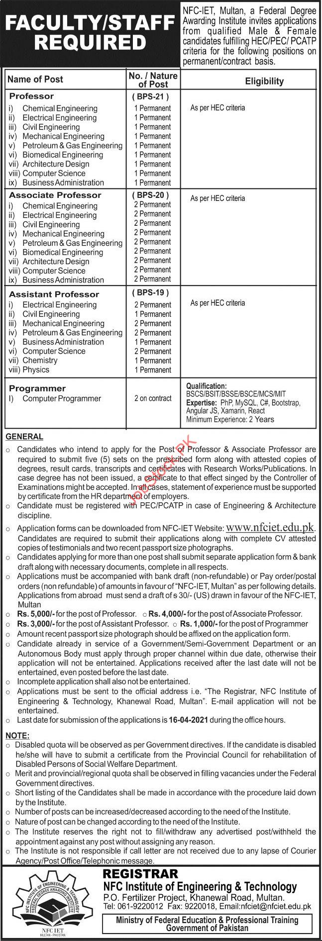 Nfc Institute Of Engineering & Technology Multan Jobs 2021