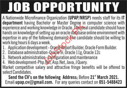 Nrsp Jobs In Islamabad It Department