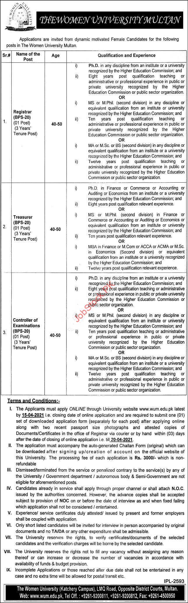 New Govt Jobs In Multan 2021 Registrar, Treasurer, Controller Of Examinations
