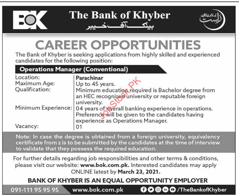 Operations Manager Jobs In Peshawar The Bank Of Khyber