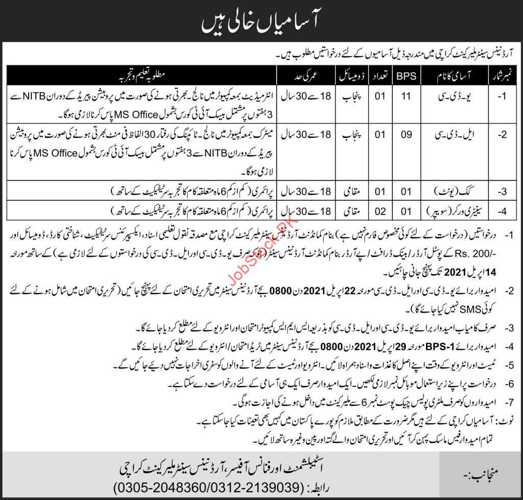 Ordnance Center Malir Karachi Jobs 2021