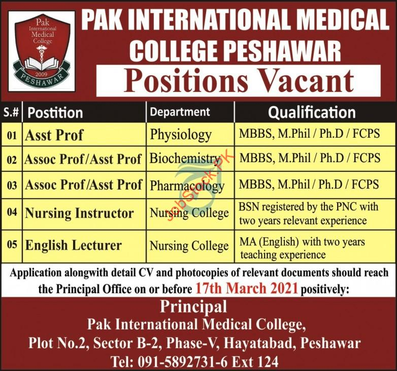 Pak International Medical College Peshawar Jobs 2021