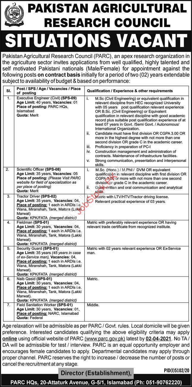 Pakistan Agriculture Research Council Jobs 2021 Advertisement