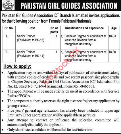 Pakistan Girl Guides Association Jobs 2021