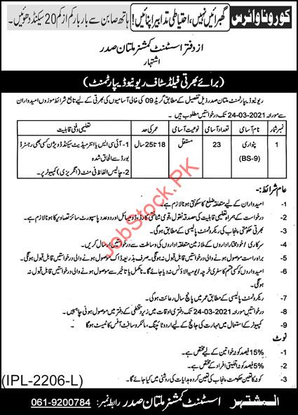 Patwari Jobs In Revenue Department Multan 2021 March Latest