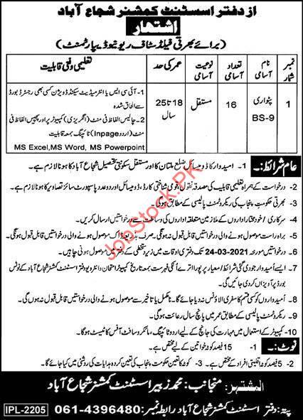 Patwari Jobs In Revenue Department Shujabad 2021