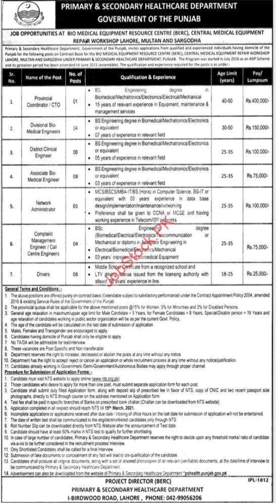 Primary & Secondary Healthcare Department Lahore Jobs 2021