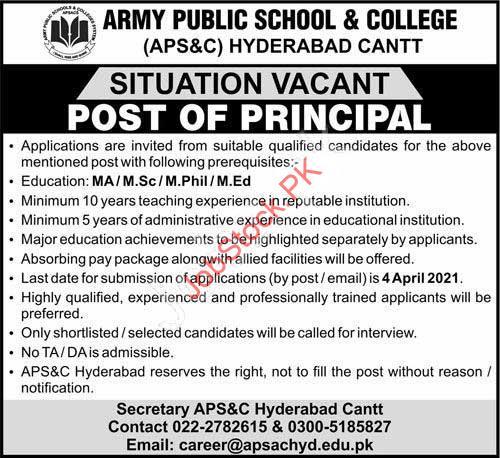 Principal Jobs In Hyderabad Sindh 2021 Latest Jobs