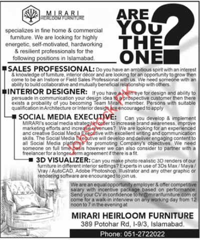 Private Jobs In Islamabad 2021 Sales Professional, Interior Designer, Social Media Executive, 3d Visualizer