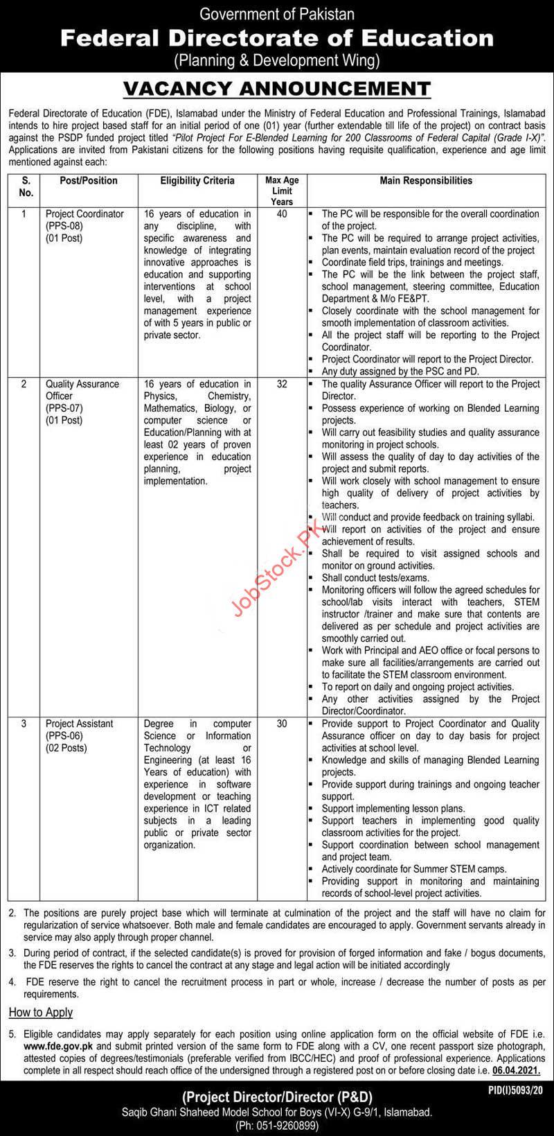 Project Coordinator Jobs In Islamabad 2021