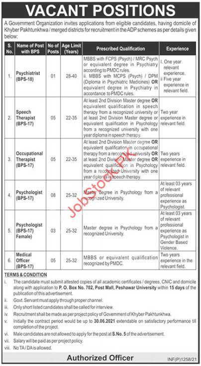 Psychologist Jobs In Peshawar 2021 Latest Jobs