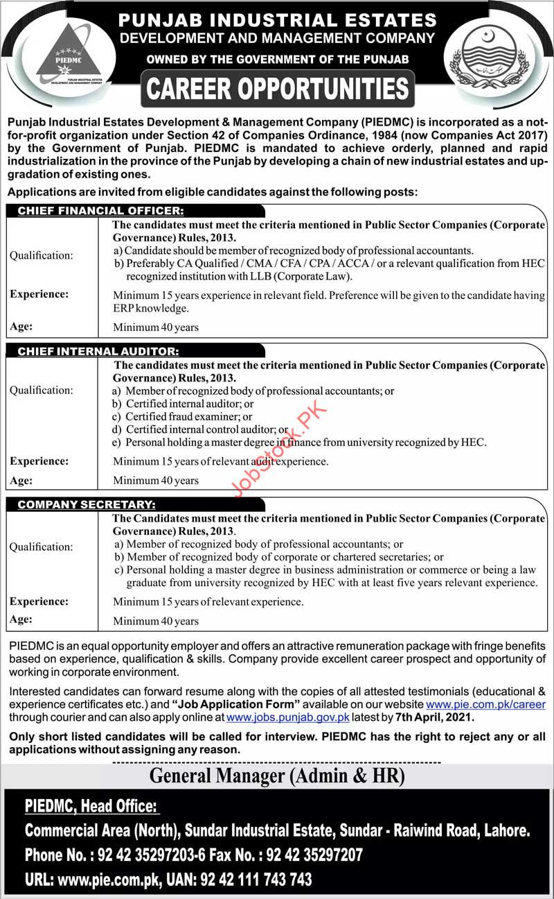 Punjab Industrial Estate Development And Management Company Jobs