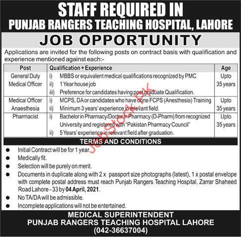 Punjab Rangers Teaching Hospital Lahore Jobs 2021 Application Form