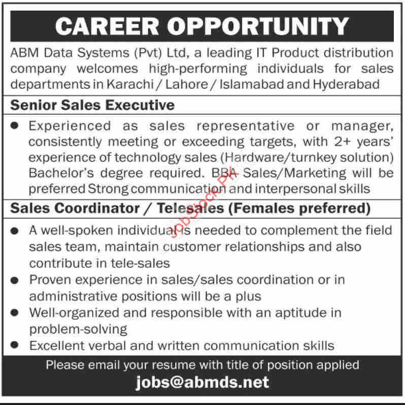 Sales Jobs Karachi Senior Sales Executive Sales Coordinator Telesales